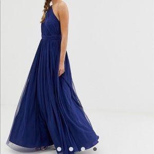 ASOS Petite Dresses - ASOS Navy tulle one shoulder maxi dress NWT sz 2